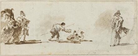 An Elegant Couple, a Gooseboy, and a Gentleman [recto]