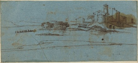 Buildings on a River Bank [verso]