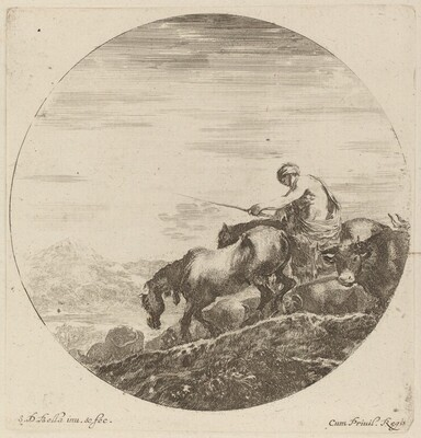Shepherd on a Horse Driving a Herd of Various Animals