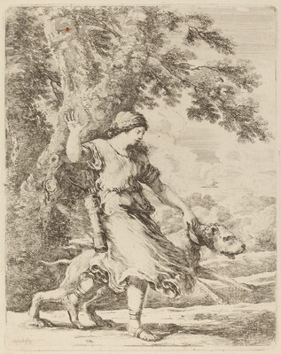 Nymph Holding a Large Dog by a Collar