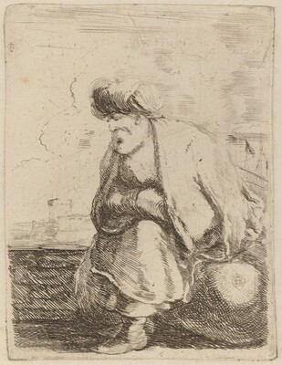 An Old Turk with Turban Seated on a Rock