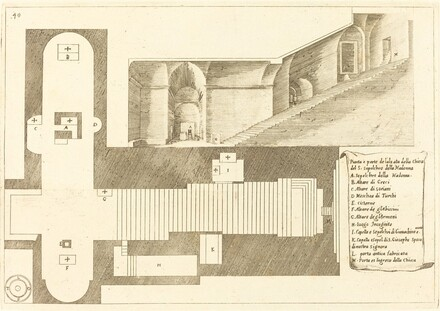 Plan and Part of the Elevation of the Church of the Holy Sepulchre of the Madonna
