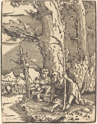 Saint Christopher Seated by a River Bank