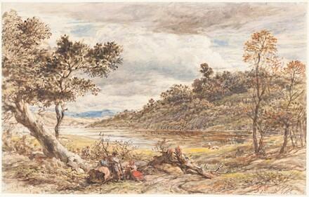 Travelers Resting by a Fallen Tree