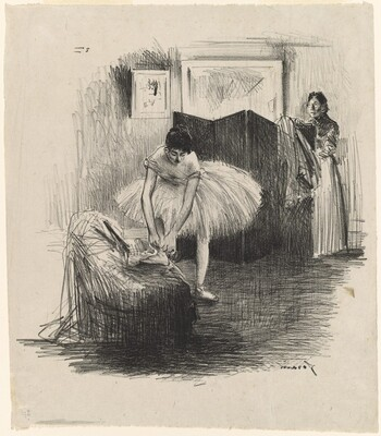 Dancer Tying Her Slipper