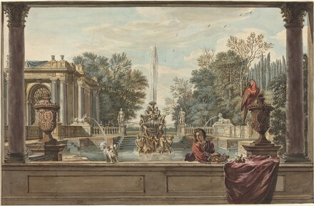 An Italianate Garden with a Parrot, a Poodle, and a Man