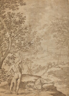 Apollo Standing in a River Landscape