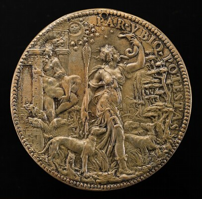 Ippolita as Diana with Hunting Dogs in a Landscape; behind her Pluto and Cerberus [reverse]