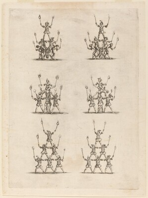 Thirty-Six Jugglers Standing in Pyramids