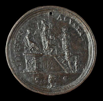 Claudius, Attended by Minerva and Liberalitas, Distributing Largesse [obverse]