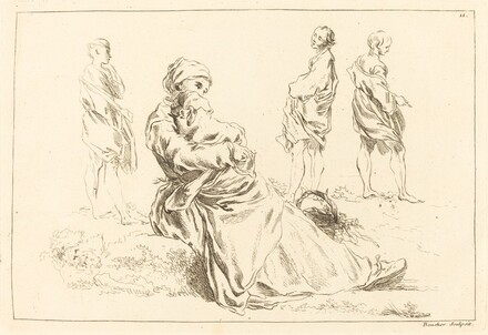 Figure Studies including Seated Mother and Child