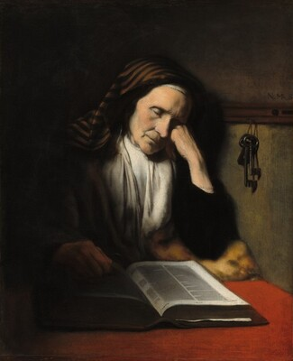 An Old Woman Dozing over a Book
