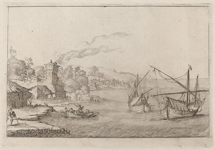 Coastal Landscape with Anchored Vessels