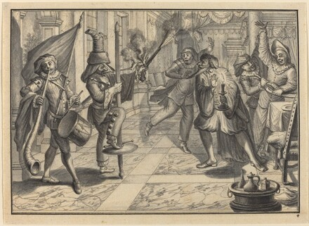 Mezzetin and Harlequin, Disguised as the Captain, Disrupt Pantaloon's Dinner