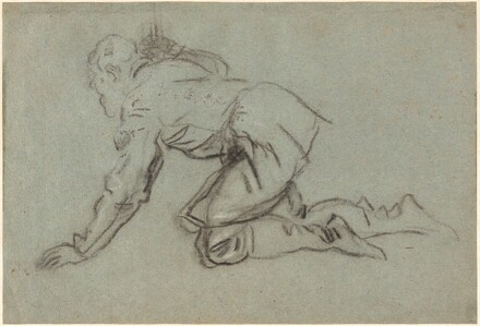 A Kneeling Man Holding a Staff [recto]