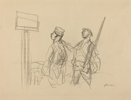 Two Soldiers Looking at a Placard