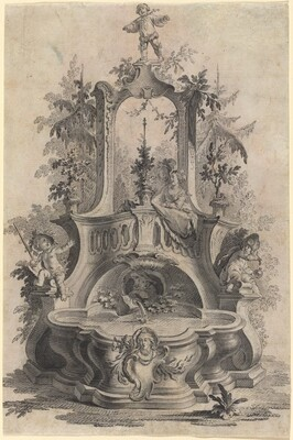 Rococo Fountain with Lovers and the Four Elements
