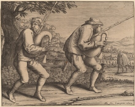 Two Bagpipe Players