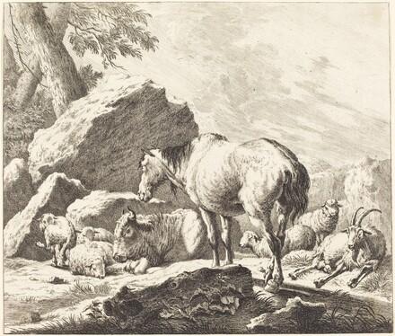 A Horse, Buffalo, Sheep, and Goat in an Italian Landscape
