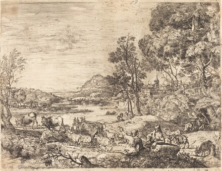 Shepherd and Shepherdess Conversing in a Landscape (Berger et bergère conversant)