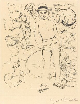 Boy Wearing Bathing-Trunks and Straw Hat (Knabe mit Badehose und Strohhut)