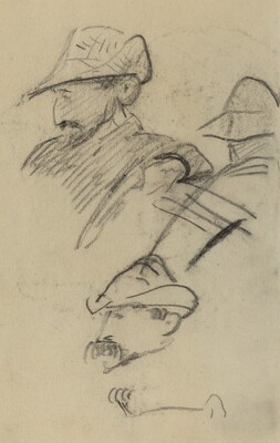 Three Studies of a Man Wearing a Hat [recto]