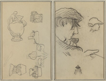 Studies of Jugs and Vases; A Man with Moustache and a Boy with a Hat [recto]
