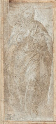 Standing Woman with Her Hands Clasped in Prayer