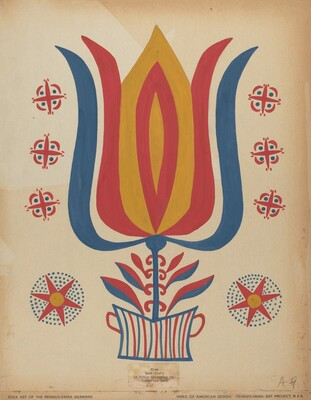 Drawing for Plate 9: From the Portfolio Folk Art of Rural Pennsylvania