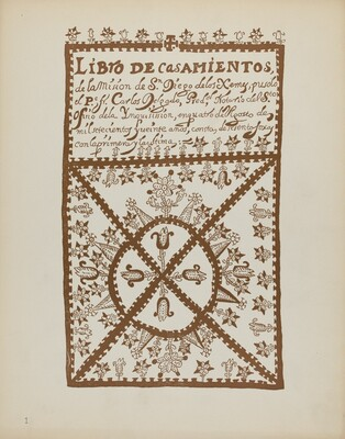 Plate 1: Jemez Book of Marriages: From Portfolio Spanish Colonial Designs of New Mexico