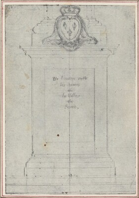 A Plinth Surmounted by the Arms of the King of France