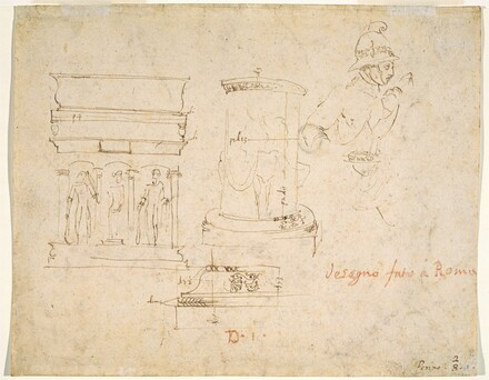 Architectural Details and a Soldier [verso]