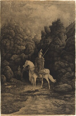 Oriental Horseman in a Desolate Mountain Landscape