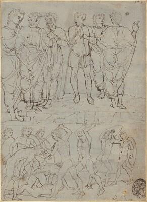 Six Conversing Men and Ten Battling Nudes