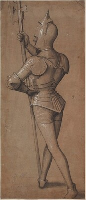 Knight in Armor, Holding a Halberd