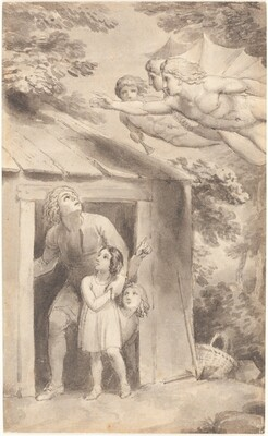 Peter and His Children Visited by Three Flying Figures