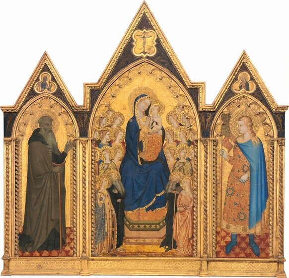Madonna and Child Enthroned with Four Saints and Eighteen Angels [middle panel]