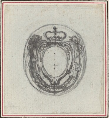 Armorial Cartouche with Crown and Swags