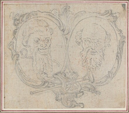 Double Cartouche with Two Heads and Symbols of Fame and Folly