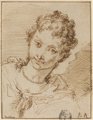Elegant Young Woman with a Pearl Necklace