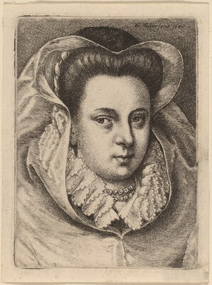 Woman with White Veil and Black Hat (Mary Stuart?)