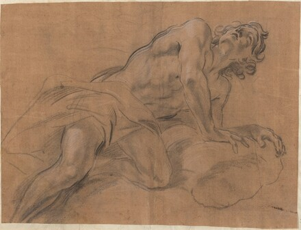 Nude Youth Leaning on a Cloud and Gazing Upward