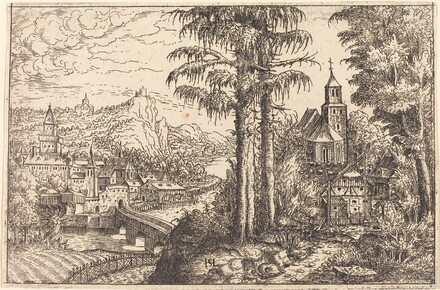 View of a Town near a River with a Church on the Right