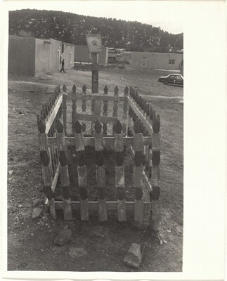Grave with surrounding fence--Santa Fe, New Mexico