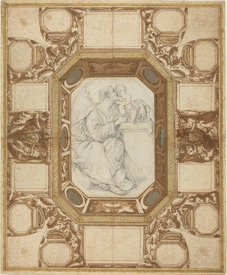 Ceiling with Allegorical Figures and the Arms of Pope Sixtus V (Guerra's outer drawing); Saint Joseph and the Christ Child (Viani's central drawing)