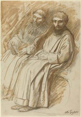 Two Monks Seated in a Church