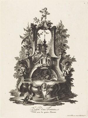 Dessein d'une Fontaine orné avec les quatre Elements (Design for a Fountain Decorated with the Four Elements)