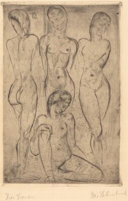Four Women; Three Standing, One Sitting (VierFrauen; drei stehend, eine sitzend)