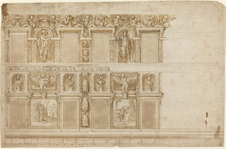 A Palatial Wall Ornamented with Sculptures and Paintings