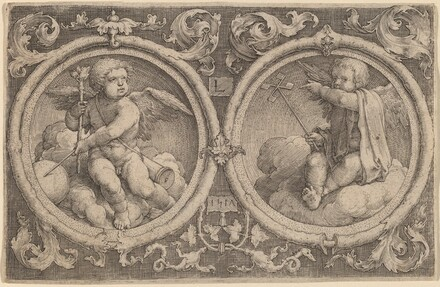 Two Cupids Seated on Clouds in Two Circles